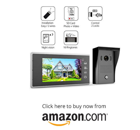 1byone Video Intercom System - Video Doorbell Kit, 7-inch Wired Door Phone System, 2 Color Monitor and 1 HD Camera Infrared LED Night Vision for Villa House Office Apartment on amazon