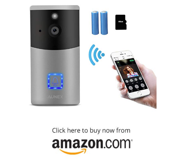 Video Doorbell AUNEX WiFi Doorbell Camera PIR Motion Detection Cloud Storage 720P HD Wireless Doorbell Home Security with Two-Way Talk & Video Night Vision Support Android and iOS(Silver) on amazon