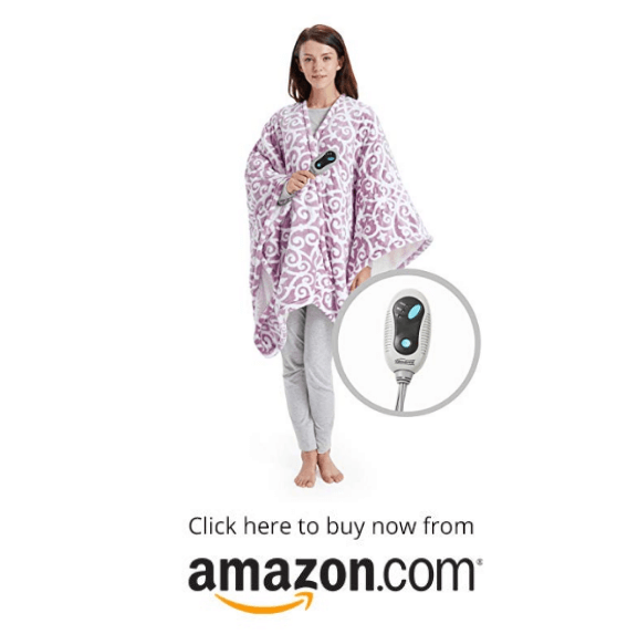 Beautyrest Ultra Soft Sherpa Berber Fleece Electric Poncho Wrap Blanket Heated Throw on amazon