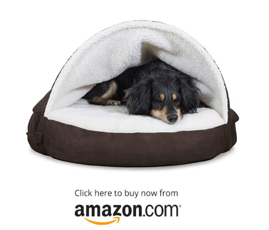Furhaven Pet - Round Orthopedic Snuggery Blanket Burrowing Cave Convertible Hood Dog Bed for Dogs & Cats - Multiple Styles, Sizes, and Colors